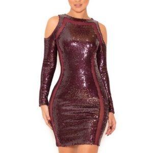House of CB  Sequin Open Shoulder Evening Dress